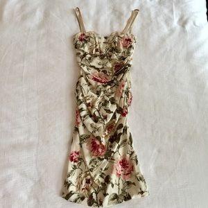 Dolce & Gabbana Floral Silk Bustier Dress